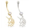 14K Yellow Gold belly ring with dangling unicorn