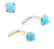 14K Gold L-shaped Nose Pin with 2mm Round Turquoise