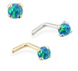 14K Gold L-shaped Nose Pin with 2mm Round Blue Green Opal