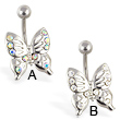 Jeweled butterfly belly ring