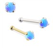 14K Gold Nose Bone with 2mm Round Blue Opal