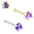 14K Gold Nose Bone with 2mm Round Cabochon Amethyst