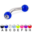 Acrylic ball with stone curved barbell, 10 ga