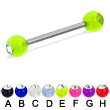 Acrylic ball with stone titanium straight barbell, 14ga