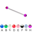 Long barbell (industrial barbell) with acrylic jeweled balls, 14 ga