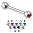 Double jeweled straight barbell, 12 ga