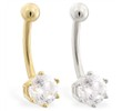 14K Gold belly button ring with 6-prong Cubic Zirconia stone