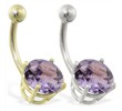 14K Gold belly ring with large 8mm Alexandrite