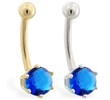 14K yellow gold belly button ring with 6-prong Sapphire