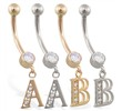14K Gold belly ring with dangling block initial
